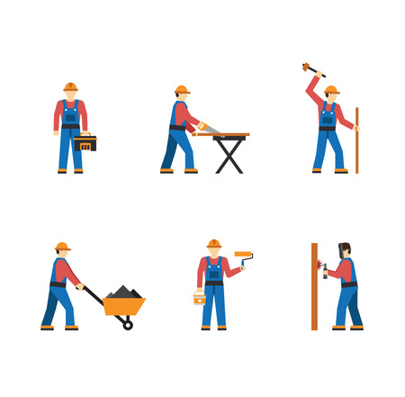 repair computer: Construction worker people silhouettes icons flat set isolated vector