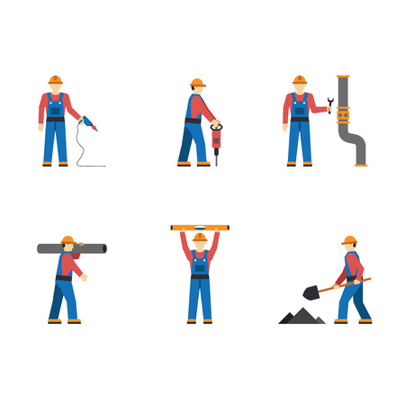 building construction site: Construction worker people silhouettes icons flat set isolated vector