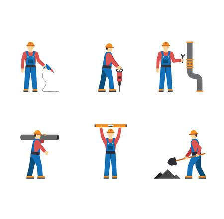 obrero trabajando: Personas Trabajador de la construcci�n de las siluetas aisladas iconos conjunto plana vector Vectores