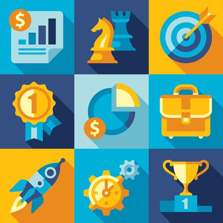 marktforschung: Strategie, Ziel, Entwicklung, Ikone der Startschl�sselelemente, neue Marken-Entwicklung, das Wachstum kleiner Unternehmen, Marktforschung und Unternehmensvision. Flache Design-Vektor- Illustration