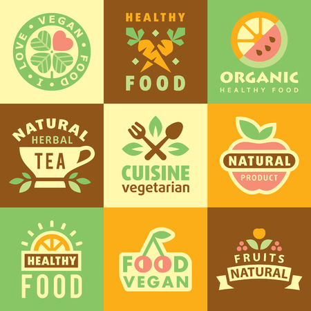 harvest organic: Fresh Organic Labels and Elements,icons for food and drink, restaurants and organic products