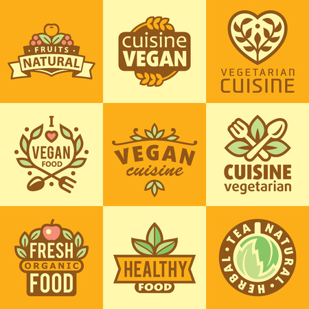 organic products: Fresh Organic Labels and Elements,icons for food and drink, restaurants and organic products