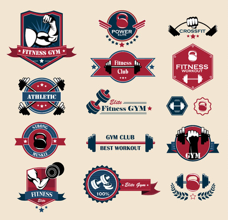 barbell: Cross fit, Fitness and Sport Vector Labels and logos.