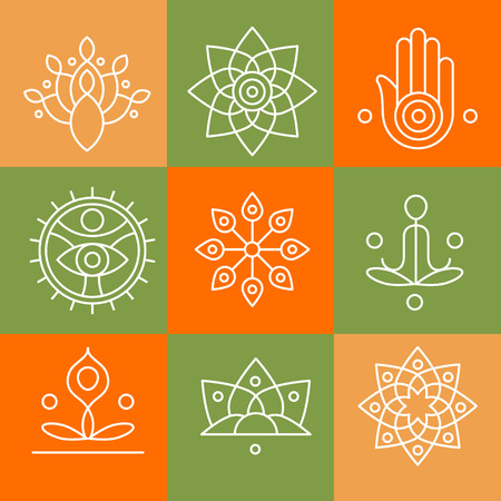 Vector yoga icons and line badges, graphic design elements or logo templates for spa center or yoga studio