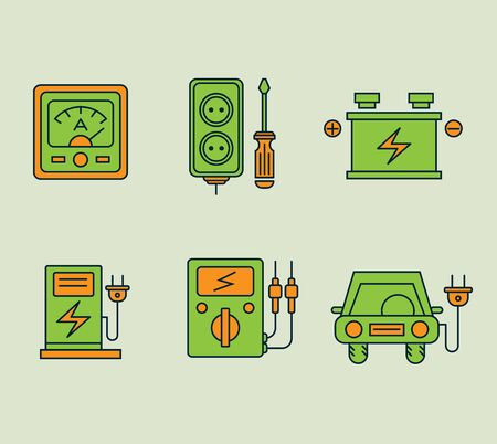 Ecological icons set, Eco, bio and environment. Conservation of energy