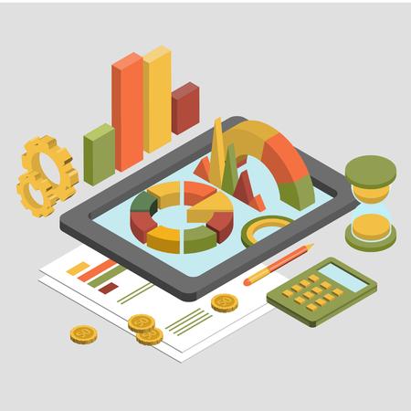 banner website: Flat 3d isometrische zakelijke financiën analytics, grafiek grafisch rapport over tablet web infographic begrip vector. Zandloper rekenmachine geld munten documenten en collage op tablet. Stijlvolle website banner.