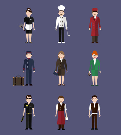 mensen groep: Hotel personeel, beroep mensen vlakke stijl vector illustratie