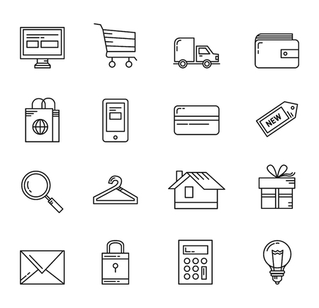 Shopping basic icons vector simple linear style vector on a white background