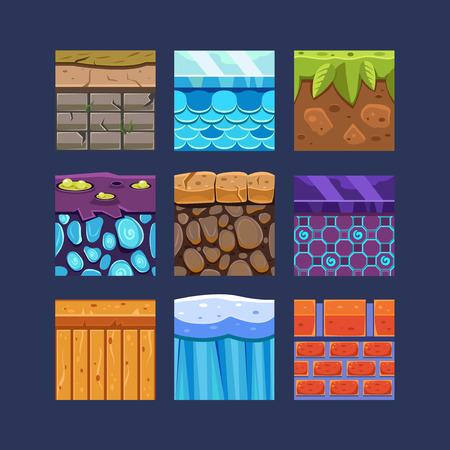 Materiali diversi e texture per il set di giochi Archivio Fotografico - 38213137