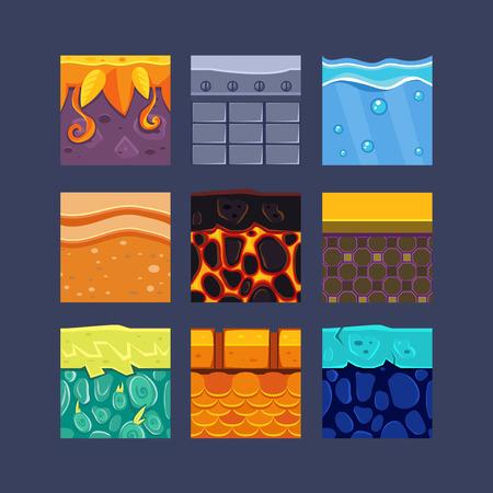 Verschillende materialen en texturen voor het spel set Stock Illustratie