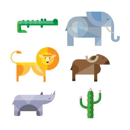 flat African animals and plants.