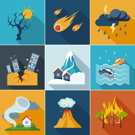 volcanos: Natural disaster, phenomena icons set flat style