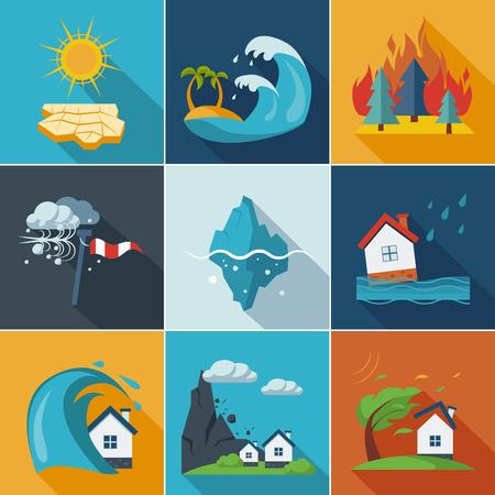 Natural disaster, phenomena icons set flat style