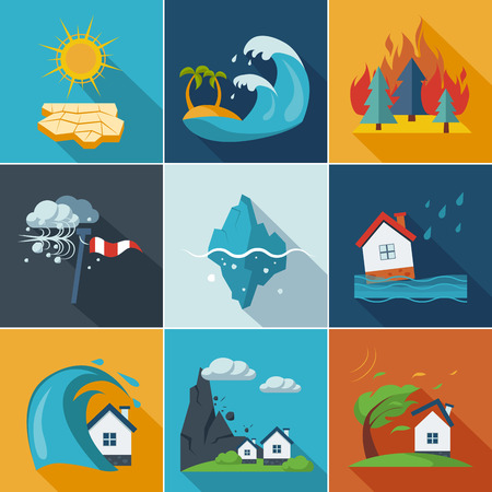 disaster: Natural disaster, phenomena icons set flat style