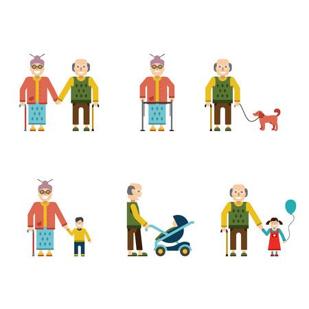 persona mayor: Las personas mayores en diferentes situaciones aisladas en blanco