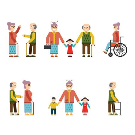 television antigua: Las personas mayores en diferentes situaciones aisladas en blanco