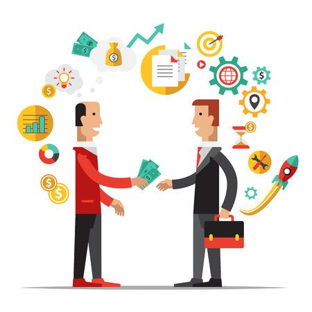 philanthropist: Business metaphors Partner illustration flat style