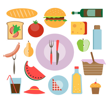 picnic icon set illustration flat style 向量圖像