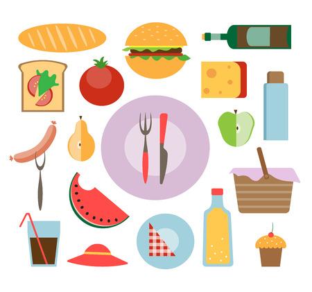 picnic icon set illustration flat style Illustration
