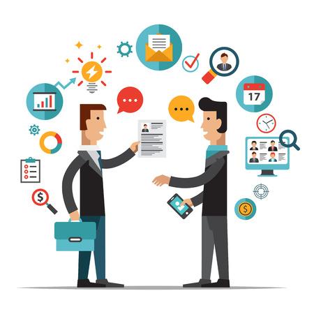 Conjunto de diseño plano ilustración conceptos para buscar empleados