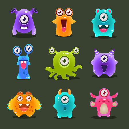 Monsters lovely cute set vector illustration concept Illustration