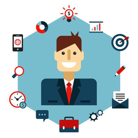 illustrazione uomo: Gestione di affari illustrazione piatta. L'uomo con le icone Vettoriali