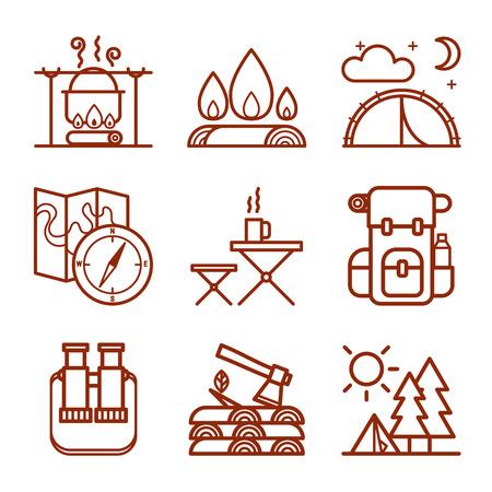 Set van kampeeruitrusting symbolen en pictogrammen Stock Illustratie