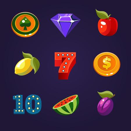 Diverse gokautomaat iconen vector set