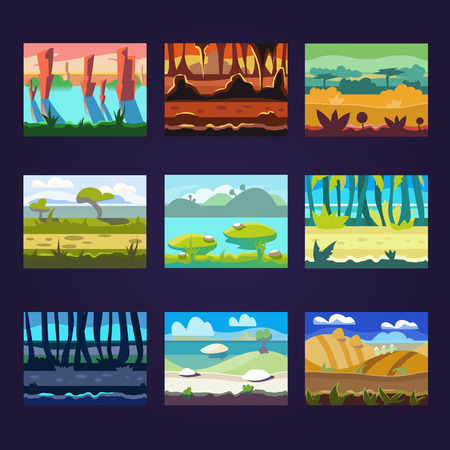 pink hills: Set of seamless cartoon landscapes for game design, horizontal nature background Illustration