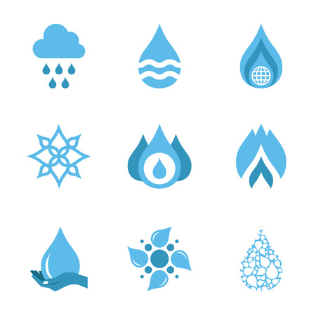 Water drop shapes collection. Vector icon set Vector