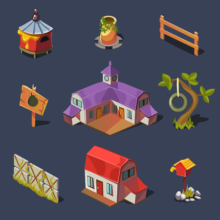 Farm Big set of design elements in modern flat style. Vector illustration Vector