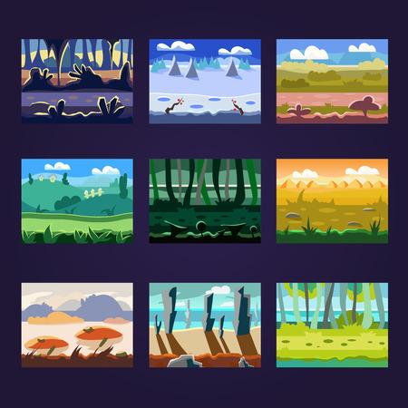 never ending: Set of seamless cartoon landscapes for game design, horizontal nature background Illustration