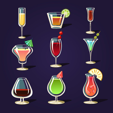 pina: Vector alcohol coctails and other drinks
