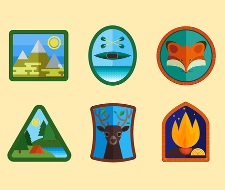 Set of camping equipment symbols and icons Illustration
