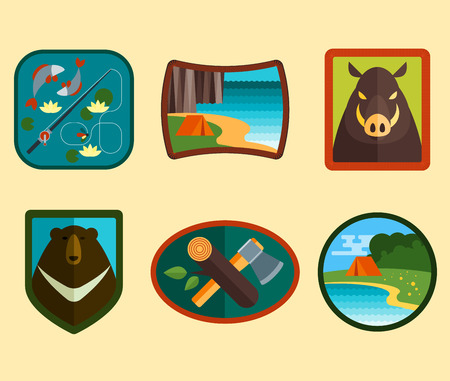 camping equipment: Set of camping equipment symbols and icons Illustration