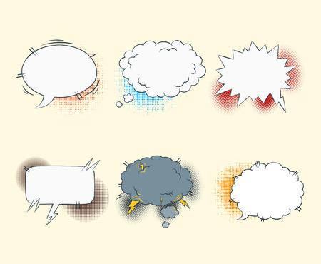 libro caricatura: discurso de texto en blanco burbujas cómicas en la ilustración conjunto de vectores estilo del arte pop
