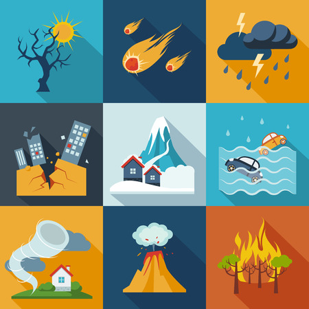 A set of natural disaster icons in fresh colors. Stock Illustratie