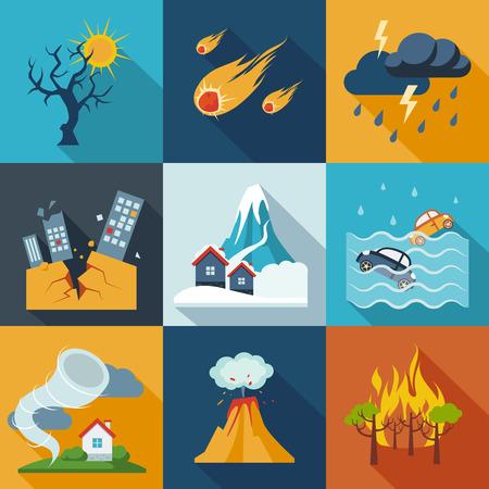 Zestaw ikon naturalnych katastrof w świeżych kolorach. Ilustracje wektorowe