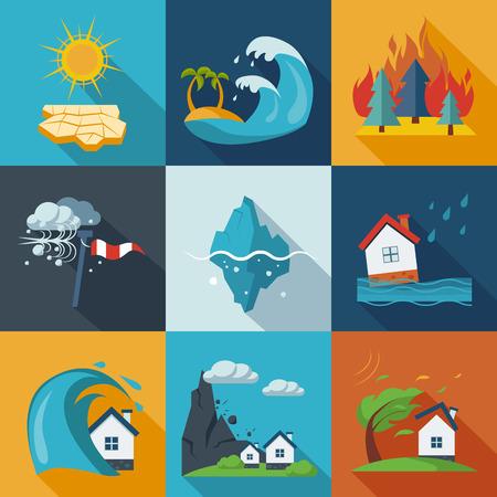 incendio casa: Un conjunto de iconos de desastres naturales en colores frescos. Vectores