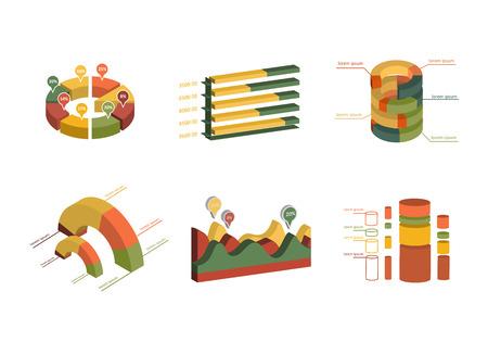 d data: Set of business flat, 3D design graph. Infographics charts set