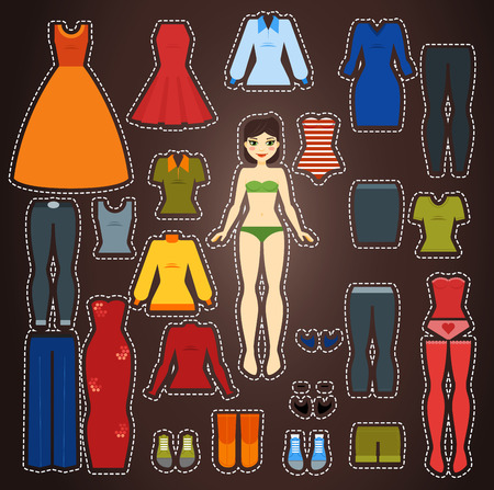 Cute dress up paper doll Body template set Vector