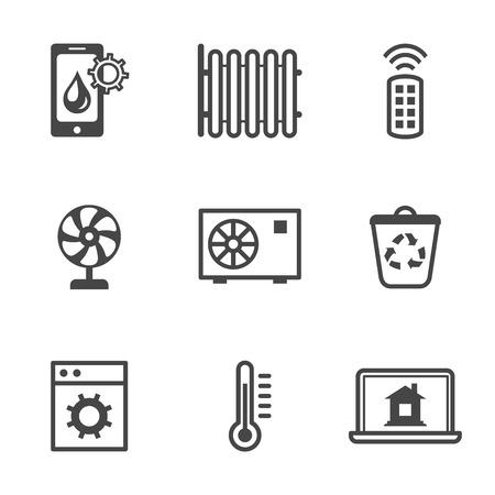 utilities: Iconos de control inteligente hogar utilidades de seguridad negro conjunto aislado ilustraci�n vectorial