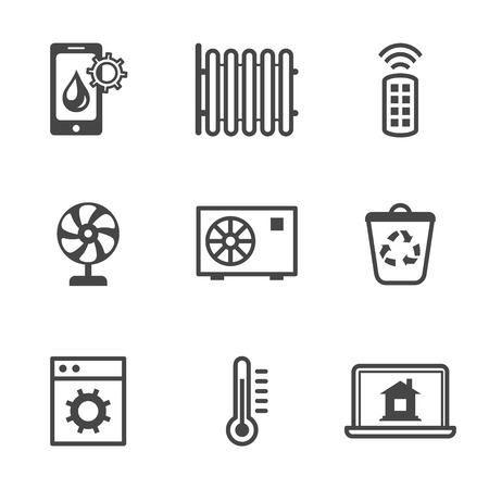utilities: Smart home utilities security control icons black set isolated vector illustration