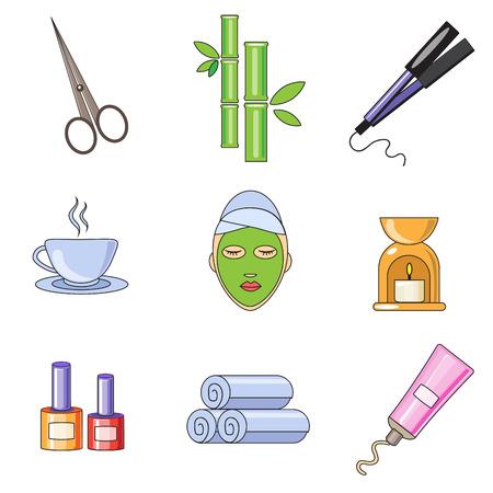 procedure: Donna in un salone di bellezza e spa. Viso, corpo, capelli illustrazione. Procedure di bellezza e benessere fatti in design piatto. Set di icone vettoriali. Vettoriali