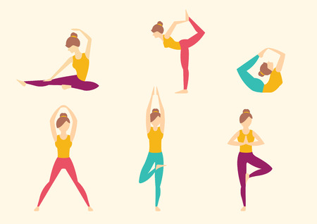 yoga: Yoga poses. Vector illustration set Illustration