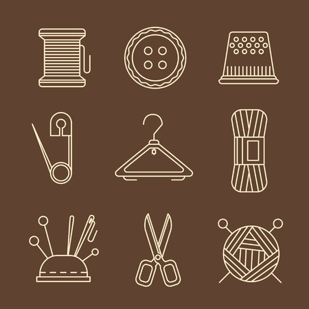needlework: Vector sewing equipment and needlework icons set Illustration