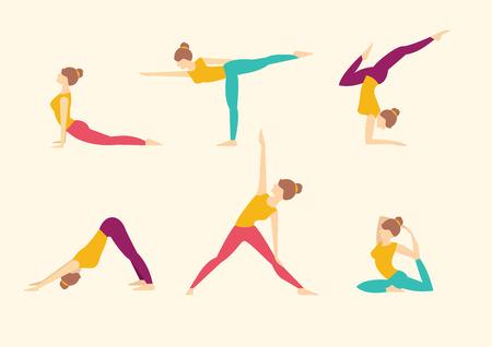 Yoga houdingen. Vector illustratie set Stock Illustratie