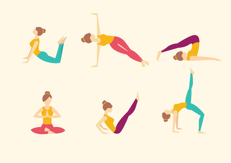 asanas: Yoga poses. Vector illustration set Illustration