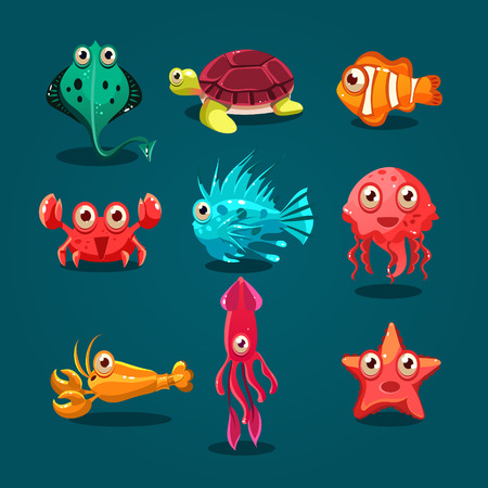 peces caricatura: Vida marina Animales lindos criaturas de dibujos animados conjunto con aislados medusas pulpo pescado ilustración vectorial