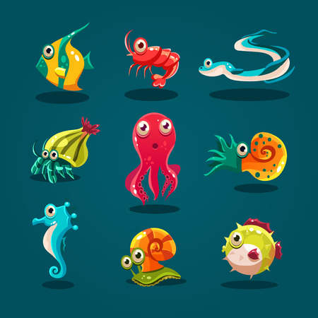 at sea: Cute sea life creatures cartoon animals set with fish octopus jellyfish isolated vector illustration